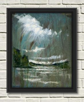 "artist rod coyne's seascape ""slaney estuary"" is shown here in a black frame on a white wall."