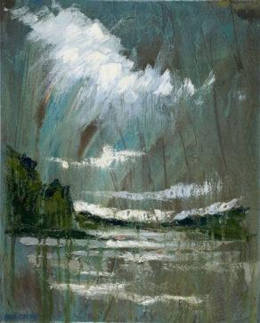 "artist rod coyne's landscape painting ""Slaney Estuary"" is shown here."