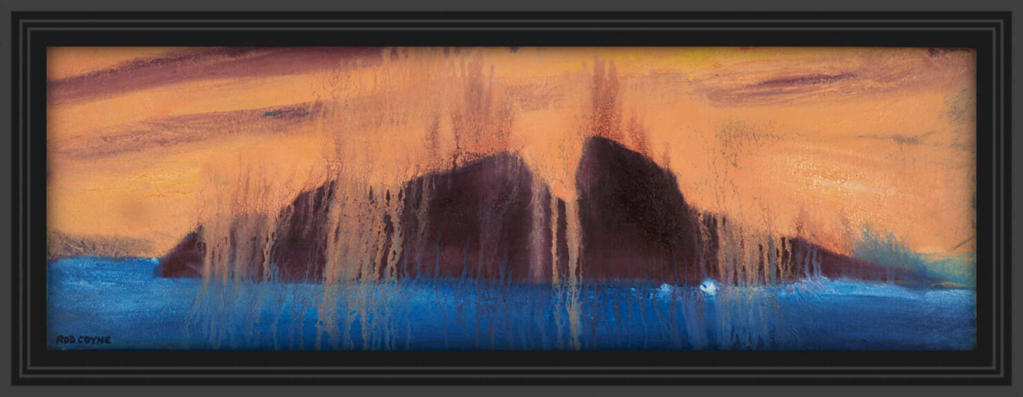 """artist rod coyne's seascape """"puffin meltdown"""" is shown here in a black frame."""