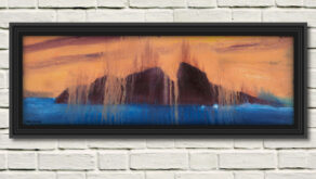 """artist rod coyne's seascape """"puffin meltdown"""" is shown here in a black frame on a white wall."""