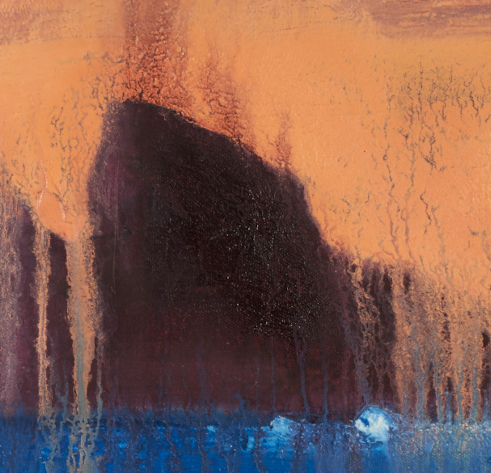 """artist rod coyne's seascape """"puffin meltdown"""" is shown here in a close up detail."""