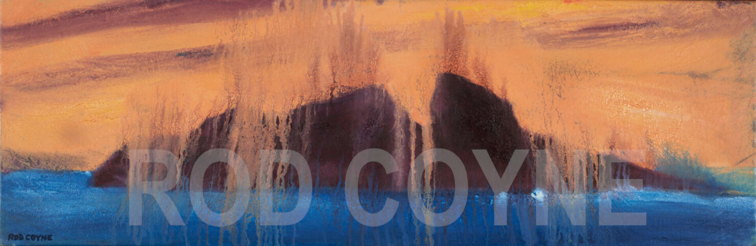 """artist rod coyne's seascape """"puffin meltdown"""" is shown here with watermarked."""