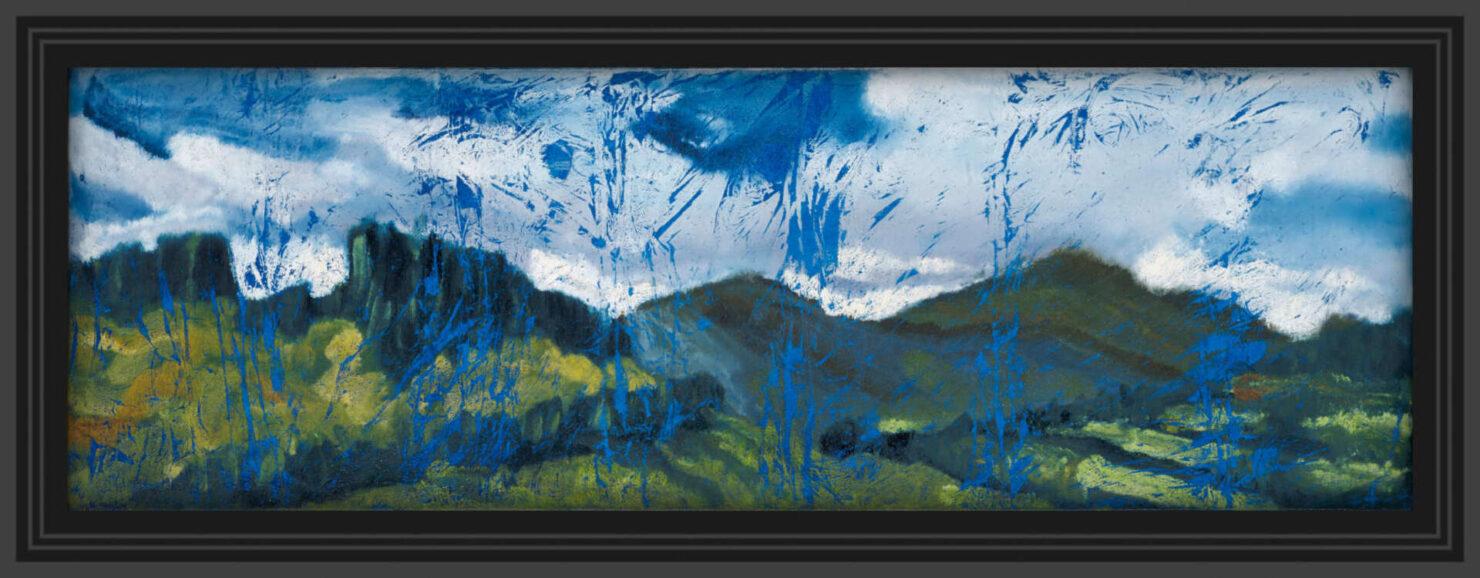 "artist rod coyne's landscape ""Wicklow Hills"" is shown here in a black frame."