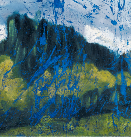 """artist rod coyne's landscape """"Wicklow Hills"""" is shown here in a close up detail."""