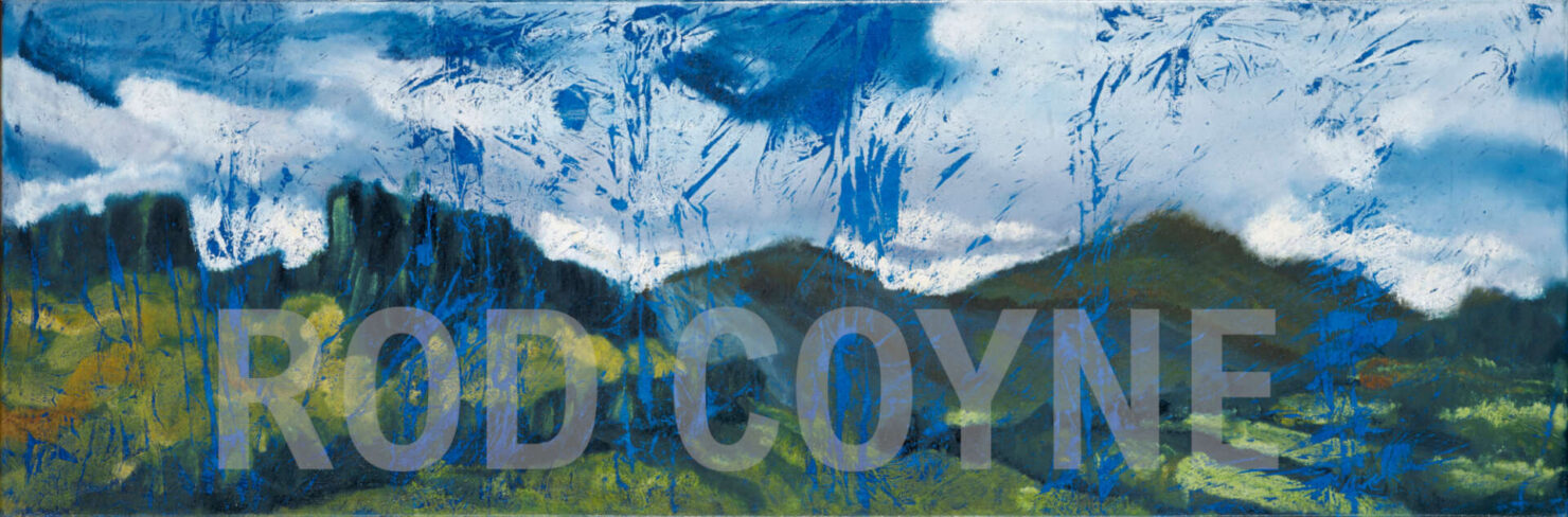"artist rod coyne's landscape ""Wicklow Hills"" is shown here watermarked."