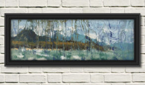 """artist rod coyne's seascape """"st. patrick's landing"""" is shown here in a black frame on a white wall."""