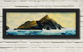 """artist rod coyne's seascape """"Puffin Tailwind"""" is shown here in a black frame on a white wall."""