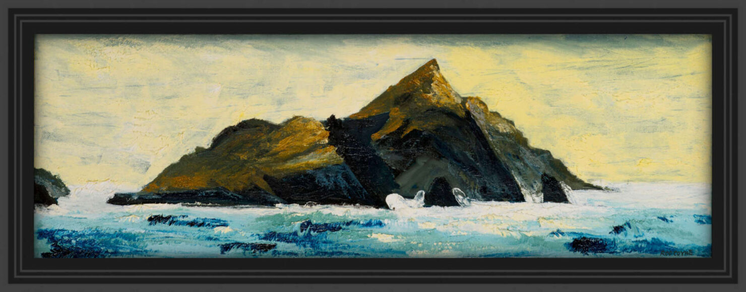 """artist rod coyne's seascape """"Puffin Tailwind"""" is shown here in a black frame."""