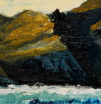 """artist rod coyne's seascape """"Puffin Tailwind"""" is shown here in a close up detail."""