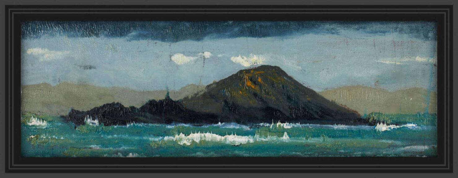 "artist rod coyne's seascape ""deenish island"" is shown here in a black frame."