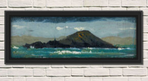 """artist rod coyne's seascape """"deenish island"""" is shown here in a black frame on a white wall."""