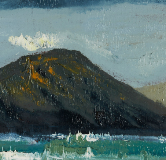 """artist rod coyne's seascape """"deenish island"""" is shown here in a close up detail."""