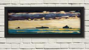 """artist rod coyne's landscape """"Atlantic Islands"""" is shown here in a black frame on a white wall."""