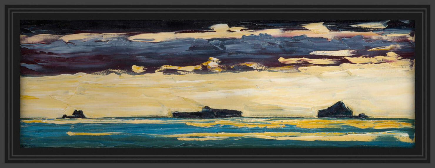"artist rod coyne's landscape ""Atlantic Islands"" is shown here in a black frame."