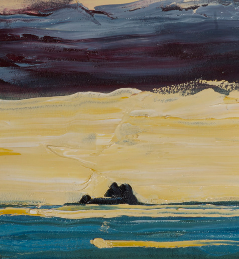 """artist rod coyne's landscape """"Atlantic Islands"""" is shown here in a close up detail."""