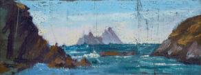 """artist rod coyne's landscape """"Skellig Summer Mist"""" is shown here."""