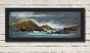 """artist rod coyne's seascape """"Lady's Ruff Weather"""" is shown here in a black frame on a white wall."""