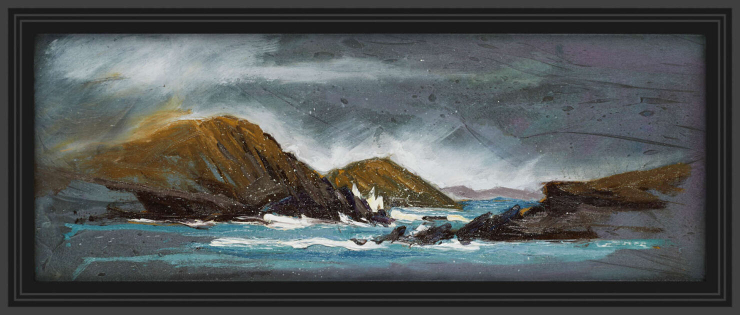 """artist rod coyne's seascape """"Lady's Ruff Weather"""" is shown here in a black frame."""