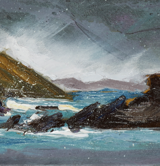 """artist rod coyne's seascape """"Lady's Ruff Weather"""" is shown here in a close up detail."""