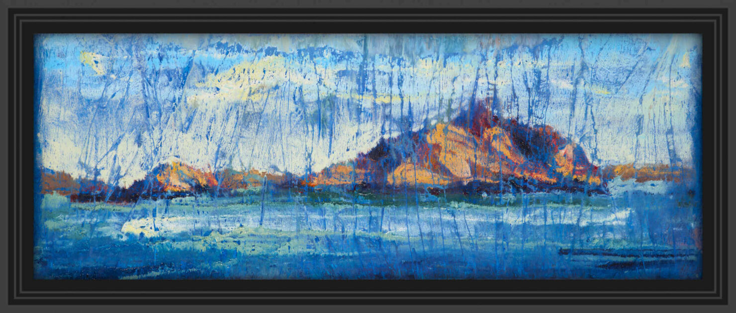 """artist rod coyne's landscape """"Island Interference"""" is shown here in a black frame."""