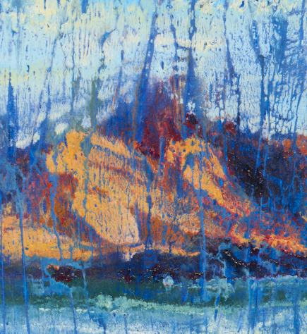 """artist rod coyne's landscape """"Island Interference"""" is shown here in a close up detail."""